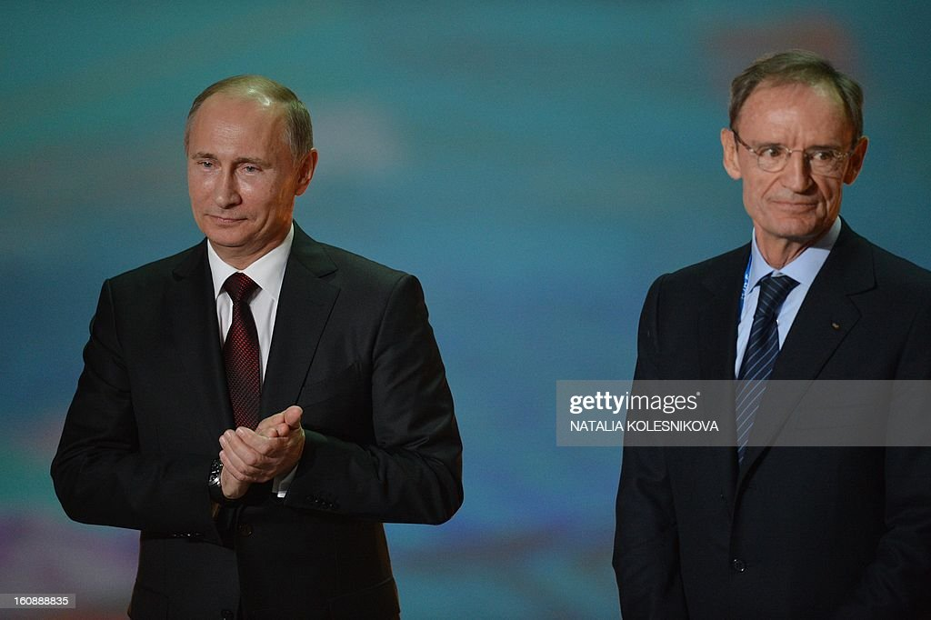 Head of the International Olympic Committee's coordination commission Jean-Claude Killy (R) and Russia's President Vladimir Putin take part in a ceremony celebrating the one year countdown to the Sochi 2014 Winter Olympics opening at the Bolshoi Ice Dome rink in the Black Sea city of Sochi, on February 7, 2013. Putin vowed today Russia would justify expectations when it hosts the Winter Olympic Games in Sochi in one year, after ruthlessly firing an official blamed for delays in building infrastructure.
