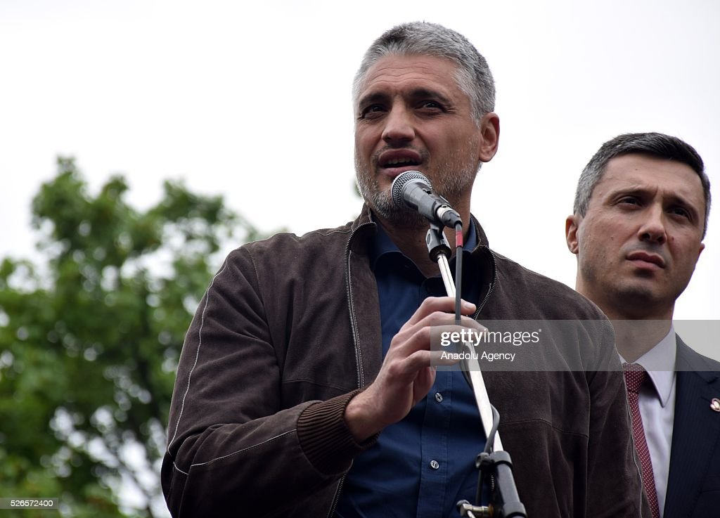 Head of the Liberal Democratic Party (LDP) Cedomir Jovanovic speaks in front of the Electoral Commission during a protest organised by Serbian main opposition parties against alleged electoral 'fraud' at last weekend polls in downtown Belgrade, Serbia on April 30, 2016.
