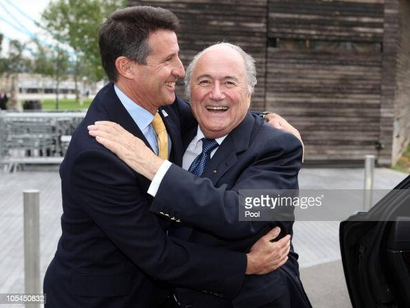 Head of the London 2012 Olympic Bid Lord Sebastian Coe and FIFA President Joseph Blatter embrace during the FIFA President's visit October 13 2010 in...