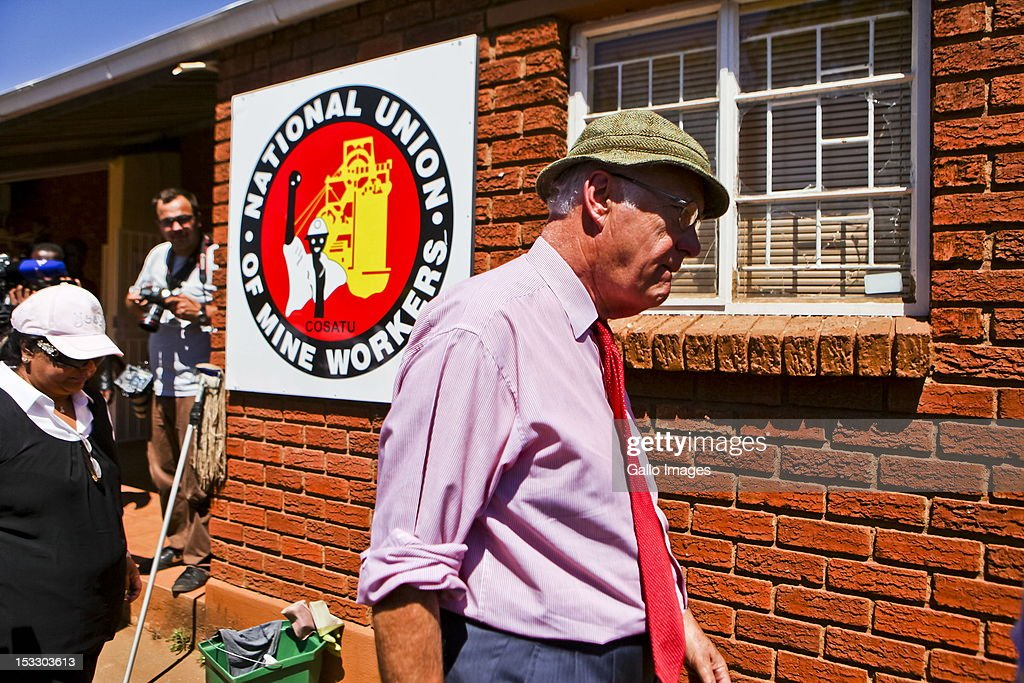 Head of the Marikana Commission of Inquiry Ian Farlam visits the NUM's offices on October 3, 2012 in Rustenberg, South Africa. The Commission which is investigating what led to the deaths of 46 people during a violent wage strike by Lonmin mine workers has been delayed to allow lawyers to speak to the families of the victims.