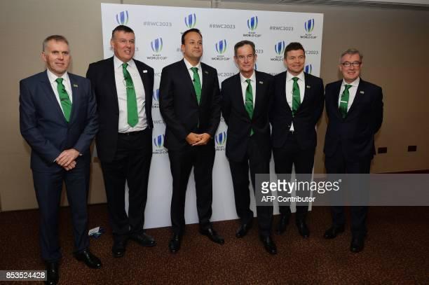 Head of the Northern Ireland civil service David Sterling rish Rugby chief Philip Browne Ireland's Prime Minister Leo Varadkar Ireland 2023 Bid...