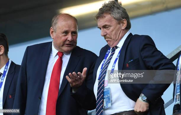 Head of the Polish Football Associacion Zbigniew Boniek and former goalkeeper Jan Tomaszewski chat prior the UEFA U21 European Championship Group A...