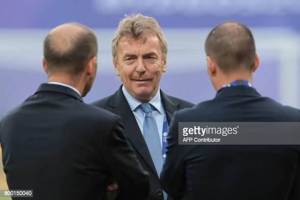 Head of the Polish Football Association Zbigniew Boniek looks on ahead the UEFA U21 European Championship Group B football match Serbia v Spain in...