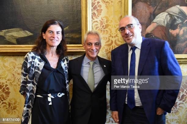 Head of the Politecnico Design School of Milan Luisa Collina Mayor of Chicago Rahm Emanuel and the head of the Institute of Design at the Illinois...