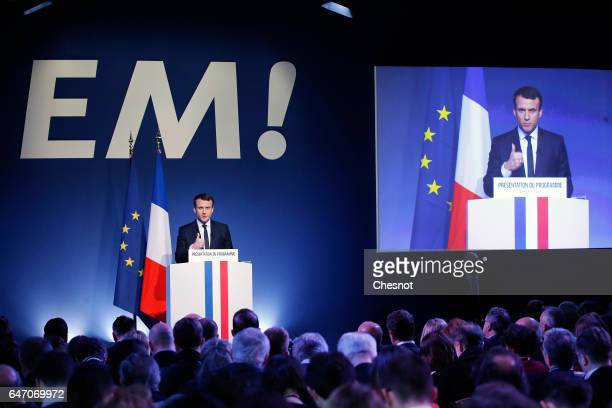 Head of the political movement 'En Marche ' Emmanuel Macron delivers a speech to unveil his program during a press conference on March 2 2017 in...