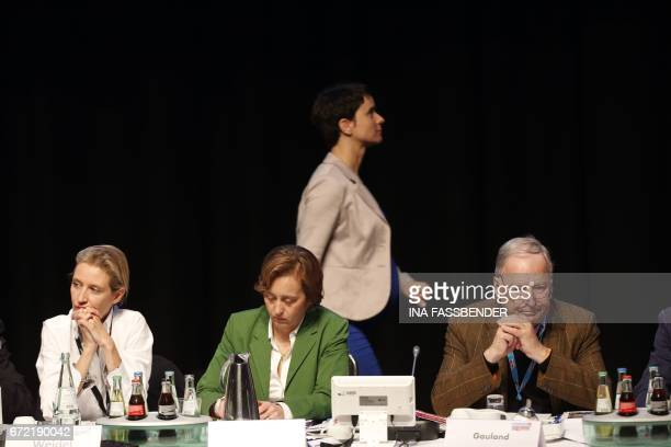 Head of the rightwing populist Alternative for Germany party Frauke Petry walks past Board members Alice Weidel Beatrix von Storch and Alexander...
