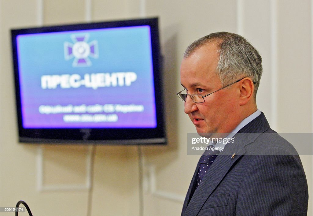 Head of the Security Service of Ukraine Vasyl Hrytsak gives a speech during a press conference with evidence of the involvement of staff officers of the Russian Federation to cooperation with pro-Russian separatists on the East of the country, in Kiev, Ukraine on February 09 ,2016. Security Service of Ukraine detained two Russian officers - Captain Sergei Kutsenko and Major Andrew Kornyak, which are part of the Joint center for control and coordination of the ceasefire and stabilize the line dividing the sides, Gritsenko said. During the arrest they seized paraphernalia 'LPR' and 'DPR', chevrons different samples, 14 manuals on military affairs with the stamp of 'limited use' and other documents.