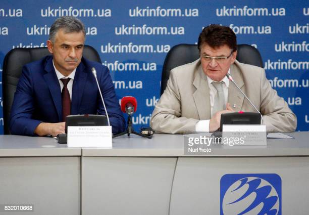 Head of the State Space Agency of Ukraine Yuri Radchenko and Acting Head of the State Export Control Service of Ukraine Igor Savula speak to...