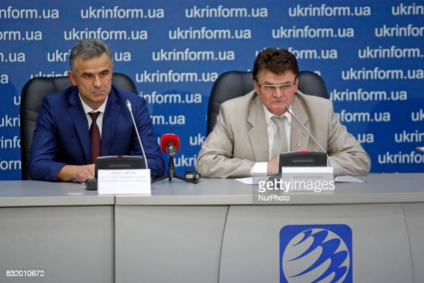 Head of the State Space Agency of Ukraine Yuri Radchenko and Acting Head of the State Export Control Service of Ukraine Igor Savula speaks to...