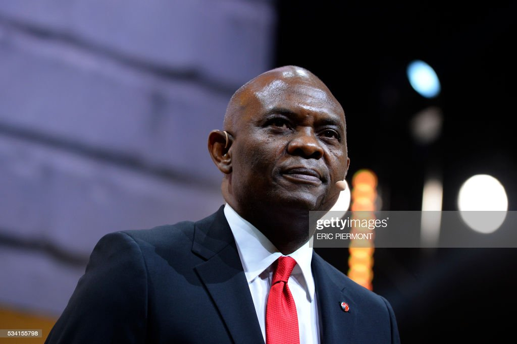 Head of The Tony Elumelu Foundation Tony Elumelu addresses France's Public Investment Bank Banque Publique d'Investissement (BPI Bpifrance) event 'Bpifrance Inno Generation' at the AccorHotels Arena in Paris on May 25, 2016. / AFP / ERIC