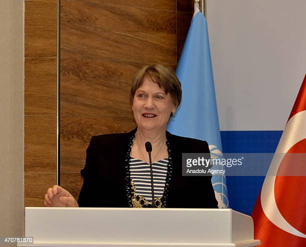 Head of the United Nations Development Programme Helen Clark speaks during the inauguration ceremony of UN Istanbul Regional Hub on April 23 2015 in...