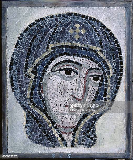 Head of the Virgin 19th Century polychrome mosaic