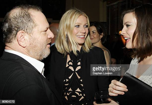 Head of The Weinstein Company Harvey Weinstein actress Gwyneth Paltrow and actress Liv Tyler attend the afterparty for 'Iron Man' hosted by The...