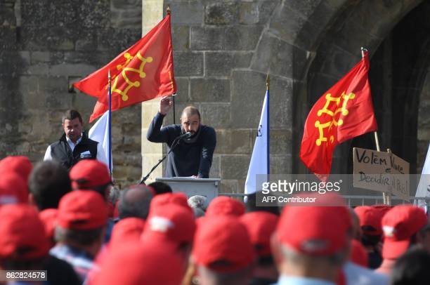 Head of the Winemakers Union of the Aude region Frederic Rouanet delivers a speech as winemakers demonstrate in the medieval city of Carcassonne...