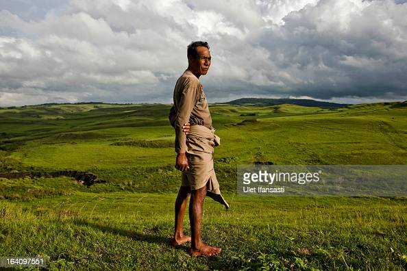 Head of tribe Luta Ndakuanau stands on the meadow in a Pambotajara village on March 1 2013 in Sumba Island East Nusa Tenggara Indonesia Sandalwood...
