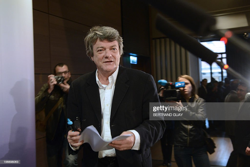 Head of Union of Democrats and Independents (UDI) party, Jean-Louis Borloo arrives to deliver a speech during a meeting with new UDI members on November 24, 2012 at the 'Maison de la Mutualite' conference centre in Paris. France's centre-right UDI and far-right Front National (FN) recently declared registering an increasing number of new memberships since the bitterly contested leadership election of main opposition right-wing party Union for a Popular Movement (UMP).