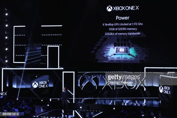 Head of Xbox Software Engineering Kareem Choudhry speaks about the 'Xbox One X' during the Microsoft xBox E3 briefing at the Galen Center on June 11...