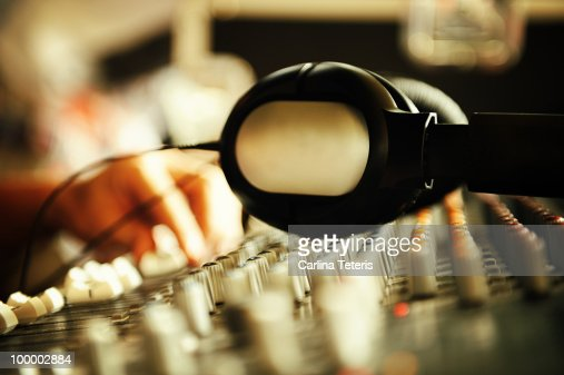 Head phones on sound board : Foto stock