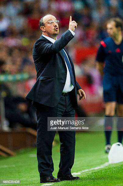 Head Rafael Benitez of Real Madrid reacts during the La Liga match between Sporting Gijon and Real Madrid at Estadio El Molinon on August 23 2015 in...