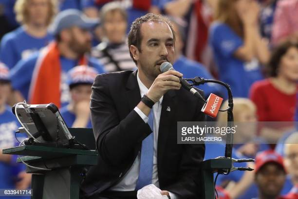 Head referee Arnaud Gabas from France has a swollen eye after Denis Shapovalov of Canada accidently hit him with a tennis ball during the third set...