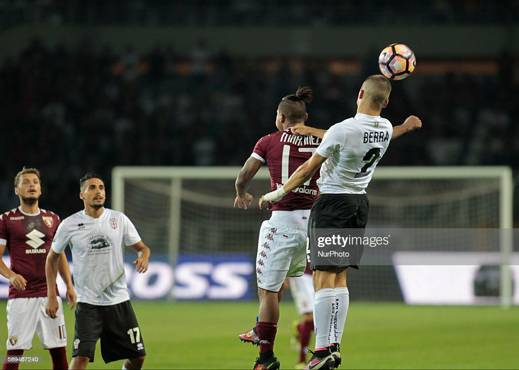 head shot of Filippo Berra with Josef Martinez during Tim Cup 20162017 match between Torino FC and FC Pro Vercelli at the Olympic Stadium of Turin on...