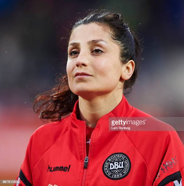 Head shot of Nadia Nadim of Denmark prior to the international friendly match between Denmark women and Finland women at Slagelse Stadion on April 11...