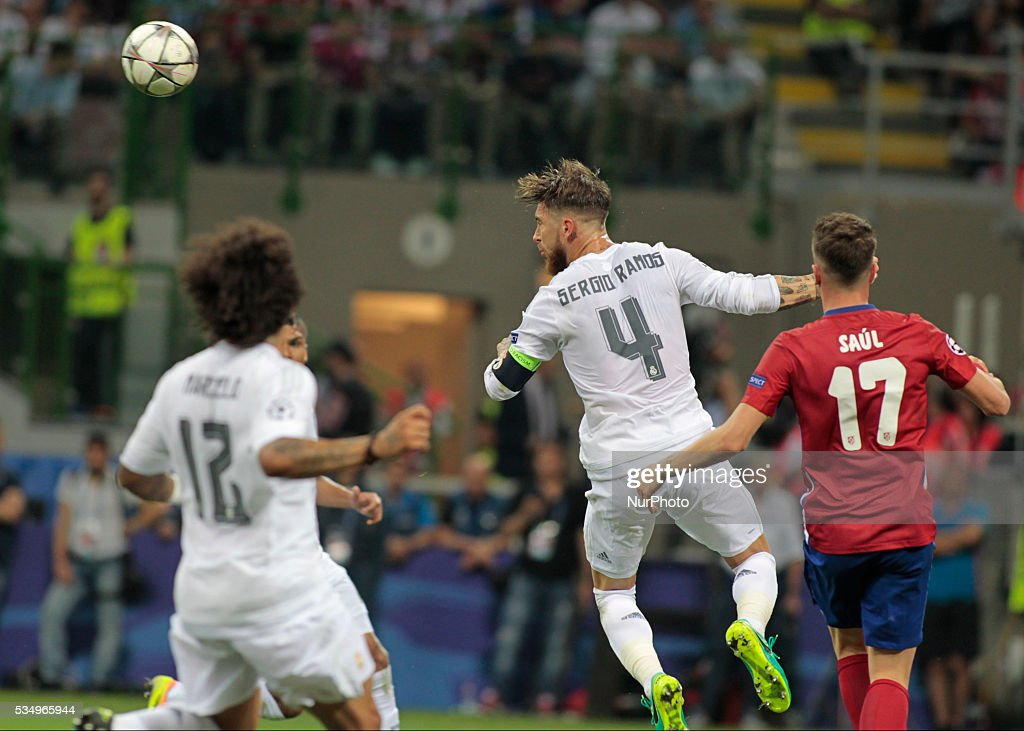 Head shot of Sergio Ramos (4) during the Champions League final between Real Madrid CF and Club Atletico de Madrid at the Giuseppe Meazza Stafium of Milan on may 28, 2016 in Milan, Italy.