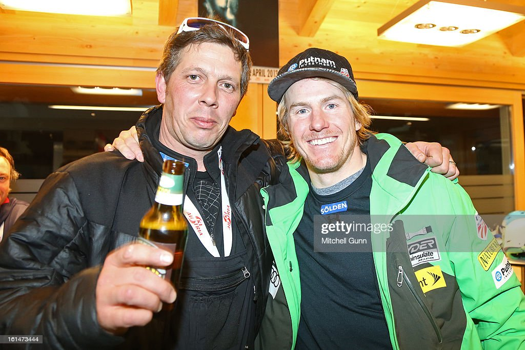 Head Ski technician Alex Martin and Ted Ligety in the Soelden House after his victory in the Alpine FIS Ski World Championships Super Combined race on February 11, 2013 in Schladming, Austria,