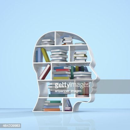 Head with a bookshelf and stacked books