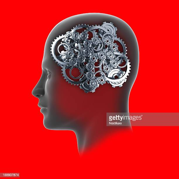 Head with cogs and gears on red background