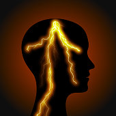 Silhouette of a man's head with lightning.