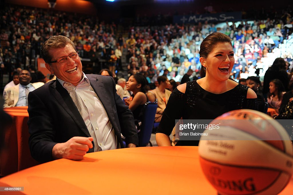 Head Women's Basketball coach <a gi-track='captionPersonalityLinkClicked' href=/galleries/search?phrase=Geno+Auriemma&family=editorial&specificpeople=704607 ng-click='$event.stopPropagation()'>Geno Auriemma</a> shares a laugh with <a gi-track='captionPersonalityLinkClicked' href=/galleries/search?phrase=Stefanie+Dolson&family=editorial&specificpeople=7369130 ng-click='$event.stopPropagation()'>Stefanie Dolson</a> during the 2014 WNBA Draft Presented By State Farm on April 14, 2014 at Mohegan Sun Arena in Uncasville, Connecticut.