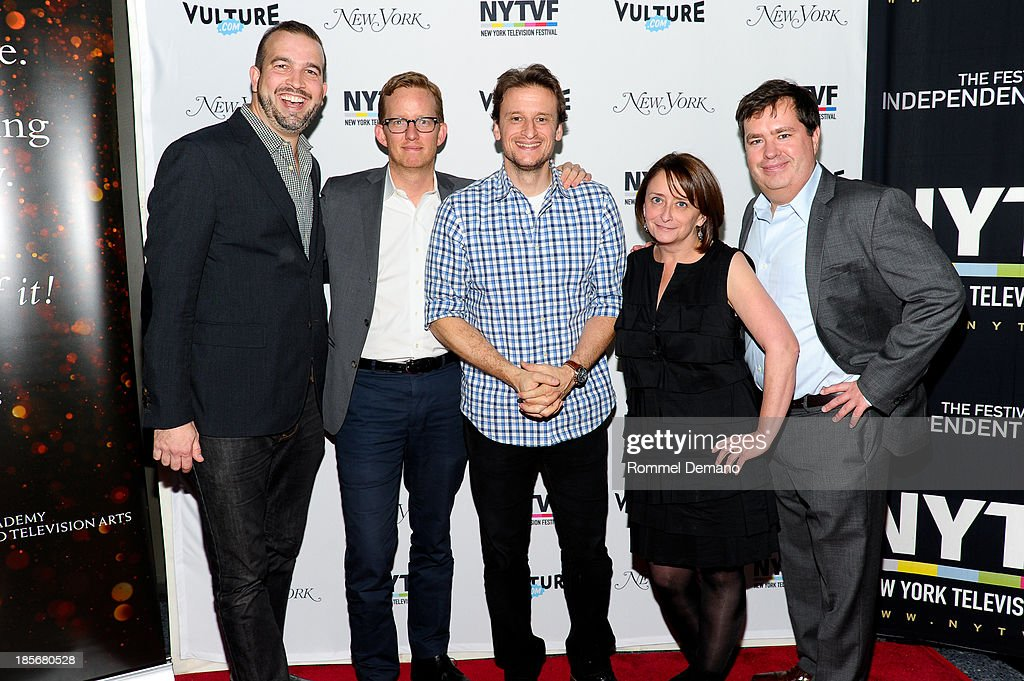 Head Writer of 'Late Night with David Letterman', Matt Roberts, Head writer of 'Late Night with Jimmy Fallon', A.D.Miles, Co-EP of 'Colbert Report', Barry Julien, actress <a gi-track='captionPersonalityLinkClicked' href=/galleries/search?phrase=Rachel+Dratch&family=editorial&specificpeople=209387 ng-click='$event.stopPropagation()'>Rachel Dratch</a> and guest attend the 9th Annual New York Television Festival - Long Day's Journey Into Late Night: The Politics Of Funny at SVA Theater on October 23, 2013 in New York City.
