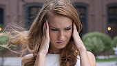 Headache, Frustrated Beautiful Young Girl, Outdoor