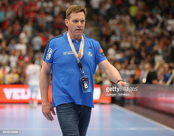 Headcoach Alfred Gislason of Kiel leaves the pitch after the second semifinal of the EHF Final4 between THW Kiel and MVM Veszprem on May 28 2016 in...