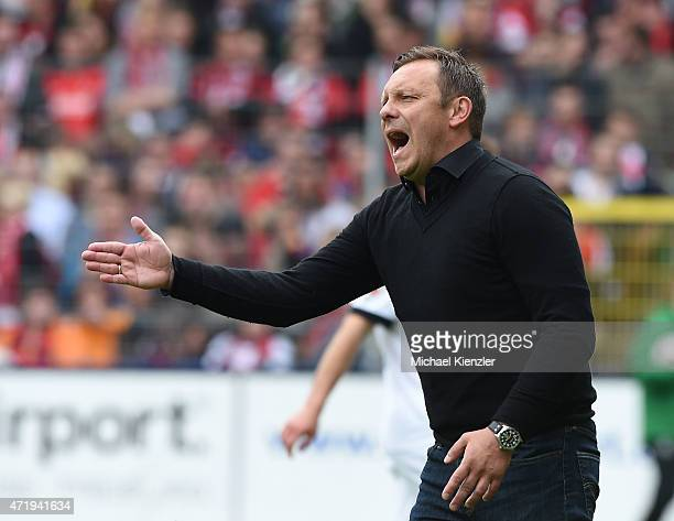 Headcoach Andre Breitenreiter of SC Paderborn 07 reacts during the Bundesliga match between Sport Club Freiburg and SC Paderborn 07 at...