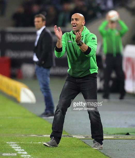 Headcoach Andre Schubert of Moenchengladbach gestures during the Bundesliga match between Borussia Moenchengladbach and FC Augsburg at BorussiaPark...