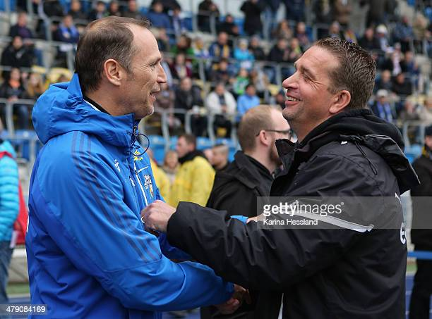 Headcoach Andreas Zimmermann of Jena and Headcoach Andreas Petersen of Magdeburg during the Regionalliga match between FC Carl Zeiss Jena and 1FC...