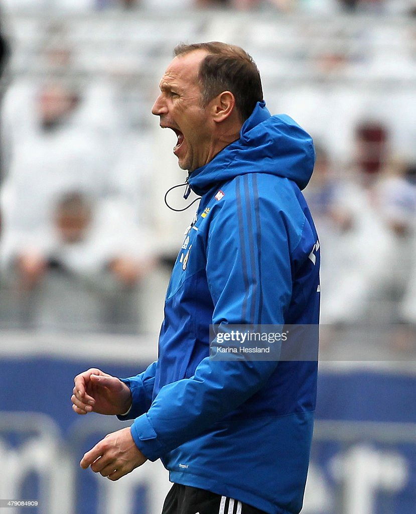 Headcoach Andreas Zimmermann of Jena reacts during the Regionalliga match between FC Carl Zeiss Jena and 1.FC Magdeburg at Ernst Abbe Sportfeld on March 16, 2014 in Jena, Germany.