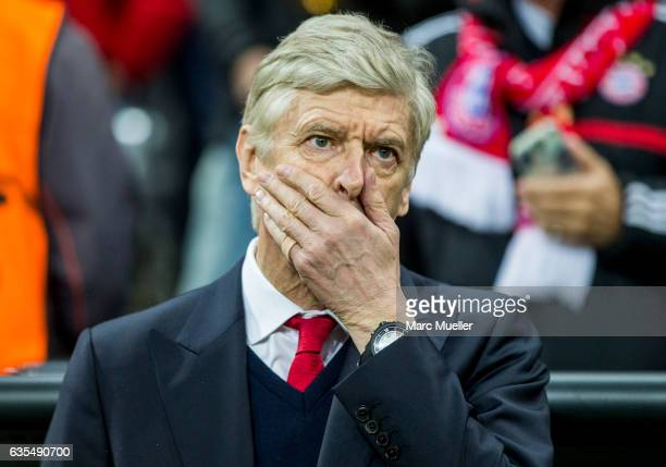 Headcoach Arsene Wenger of Arsenal FC before the UEFA Champions League Round of 16 first leg match between FC Bayern Muenchen and Arsenal FC at...