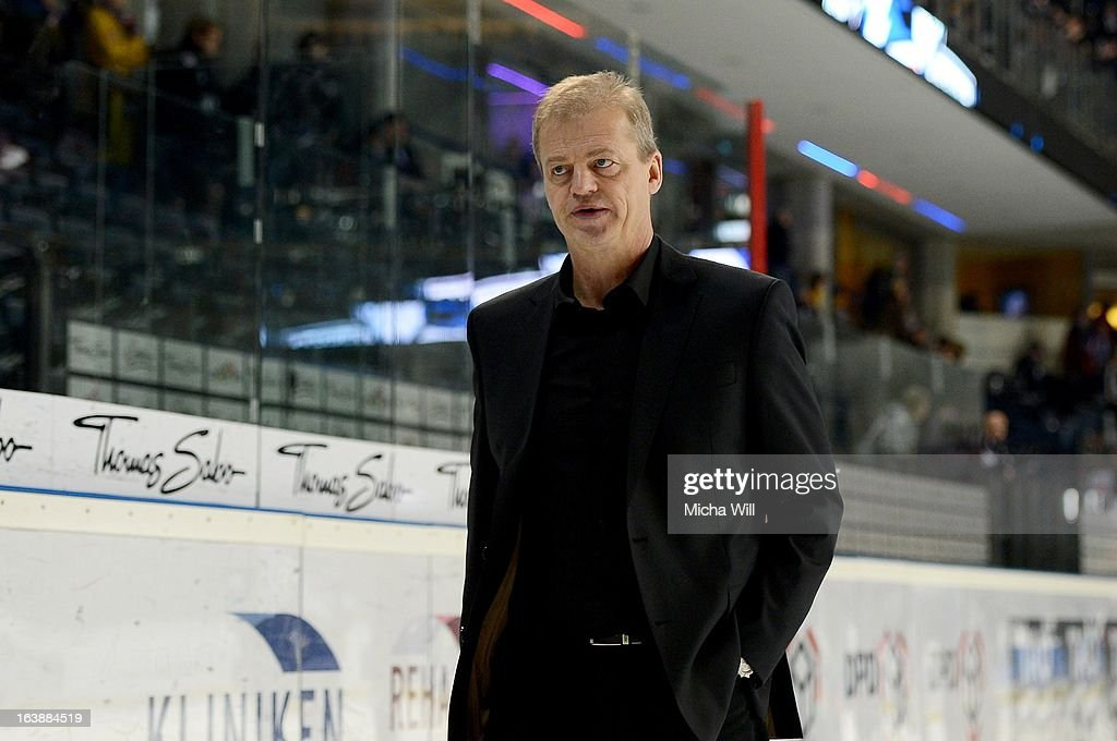 Headcoach Bengt-Ake Gustafsson of Nuremberg leaves the pitch after game three of the DEL pre-play-offs between Thomas Sabo Ice Tigers and Grizzly Adams Wolfsburg on March 17, 2013 in Nuremberg, Germany.