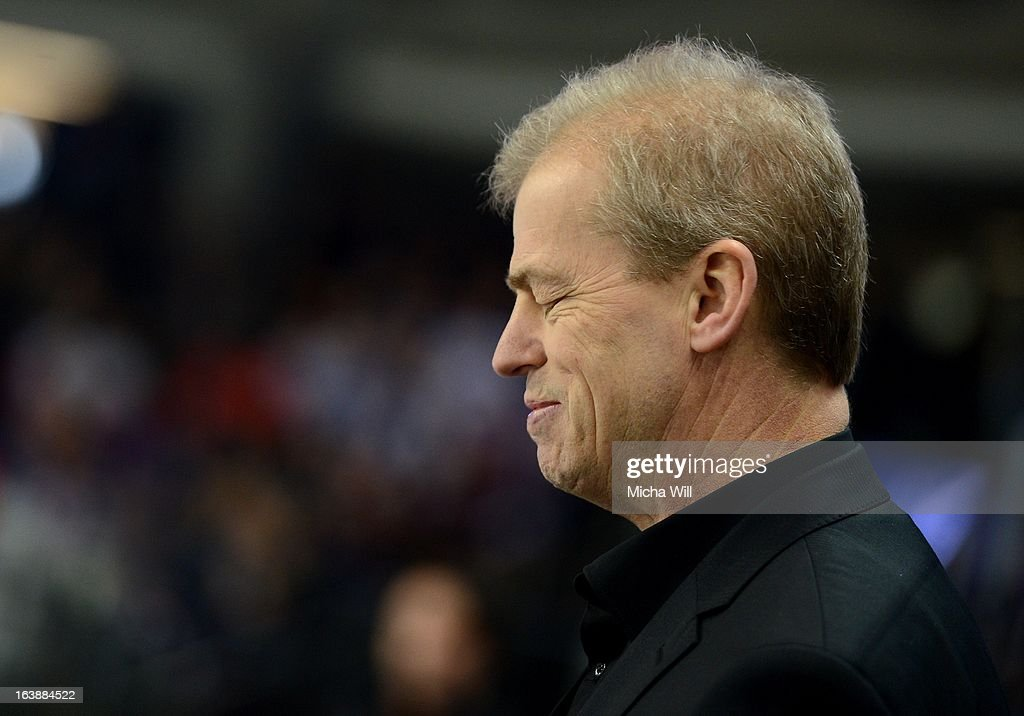 Headcoach BengtAke Gustafsson of Nuremberg reacts during game three of the DEL preplayoffs between Thomas Sabo Ice Tigers and Grizzly Adams Wolfsburg...