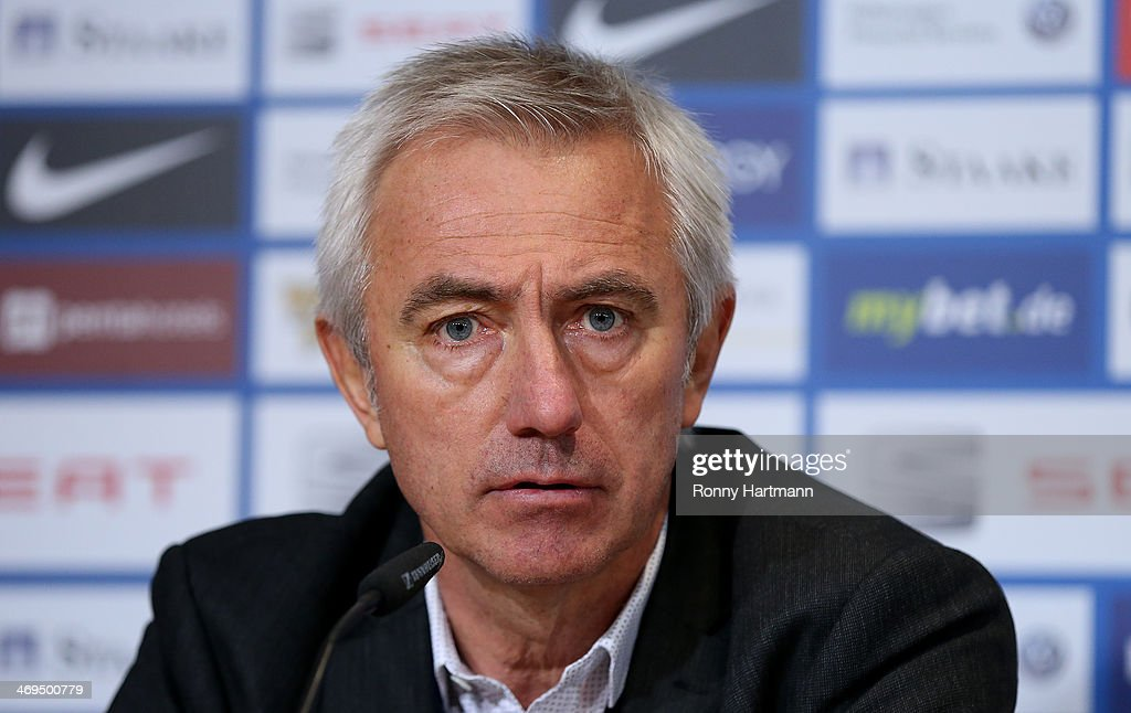 Headcoach <a gi-track='captionPersonalityLinkClicked' href=/galleries/search?phrase=Bert+van+Marwijk&family=editorial&specificpeople=649210 ng-click='$event.stopPropagation()'>Bert van Marwijk</a> of Hamburg looks on during the press conference after the Bundesliga match between Eintracht Braunschweig and Hamburger SV at Eintracht Stadion on February 15, 2014 in Braunschweig, Germany.