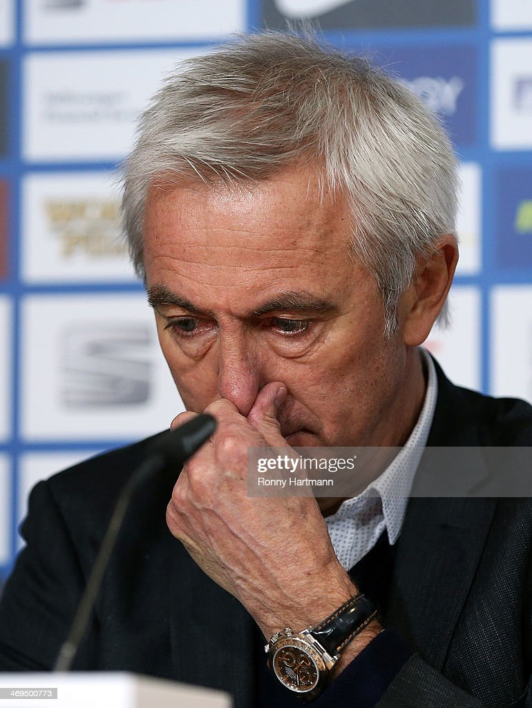 Headcoach Bert van Marwijk of Hamburg reacts during the press conference after the Bundesliga match between Eintracht Braunschweig and Hamburger SV at Eintracht Stadion on February 15, 2014 in Braunschweig, Germany.