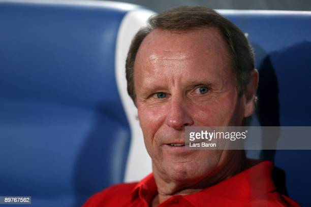 Headcoach Berti Vogts of Azerbaijan attends the FIFA 2010 World Cup Group 4 Qualifier match between Azerbaijan and Germany at the Tofik Bachramow...