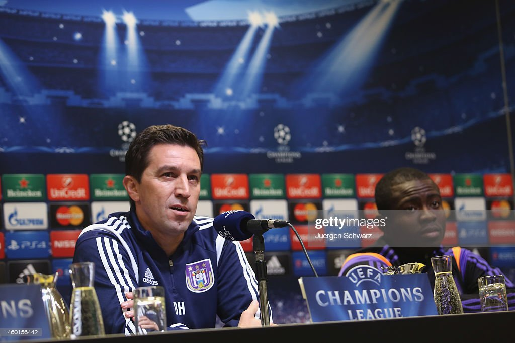 Headcoach Besnik Hasi of Anderlecht attends a news conference beside Frank Acheampong one day ahead of the Champions League Group D football match...