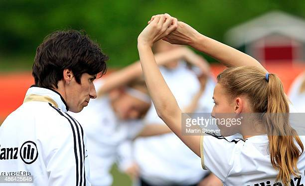 Headcoach Bettina Wiegmann of U15 Girl's Germany during the match between U15 Girl's Netherlands v U15 Girl's Germany at Sportpark de Koerbelt on...