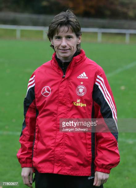 Headcoach Bettina Wiegmann poses during the photo call of the Women Under 15 German National Soccer Team on November 8 2007 in Hennef Germany