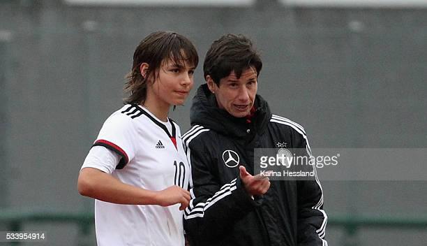 Headcoach Bettina Wiegmann talks to Lena Sophie Oberdorf of Germany during the International Friendly match between U15 Girls Germany and U15 Girls...