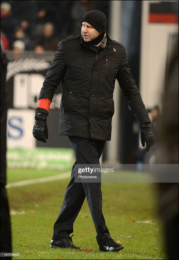 Headcoach Bob Peeters of Gent in action during the Jupiler League match between Oud Herverlee Leuven OHL and KAA Gent on December 1, 2012 in Oud-Herverlee, Belgium.